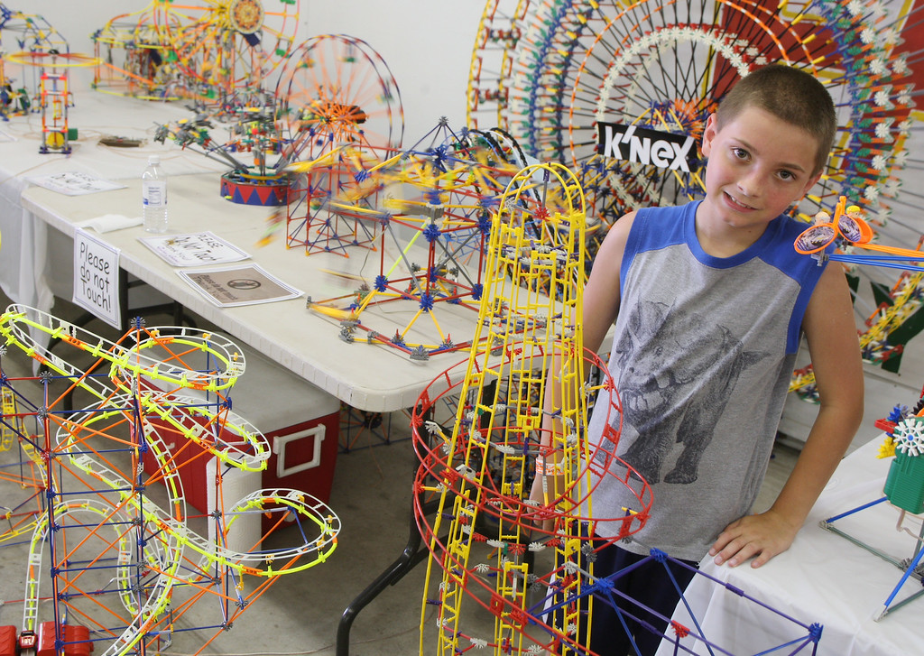 Description of . Dylan Grems , 13 of Floyd poses with his K'nex display     at the Boonville Oneida County Fair on Tuesday, July 22, 2014 in Boonville. the fair runs through Sunday, July 27, 2014.  JOHN HAEGER-ONEIDA DAILY DISPATCH @ONEIDAPHOTO ON TWITTER