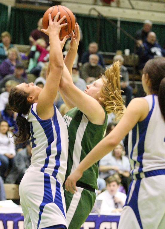Description of . Hamilton's Olivia Dow (24) and Ft Edwards  Alexis Thomas (24) tie up for the rebound in the second half of the NYSPHSAA Class D semifinal in Troy on Saturday, March 15, 2014.JOHN HAEGER-ONEIDA DAILY DISPATCH @ONEIDAPHOTO ON TWITTER