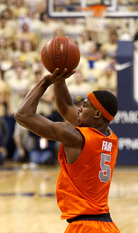 Description of . Syracuse's C.J. Fair (5) shoots during the second half of an NCAA college basketball game against Pittsburghon Wednesday, Feb. 12, 2014, in Pittsburgh. Syracuse won 58-56 on a three point shot with less than a second left in the game. (AP Photo/Keith Srakocic)