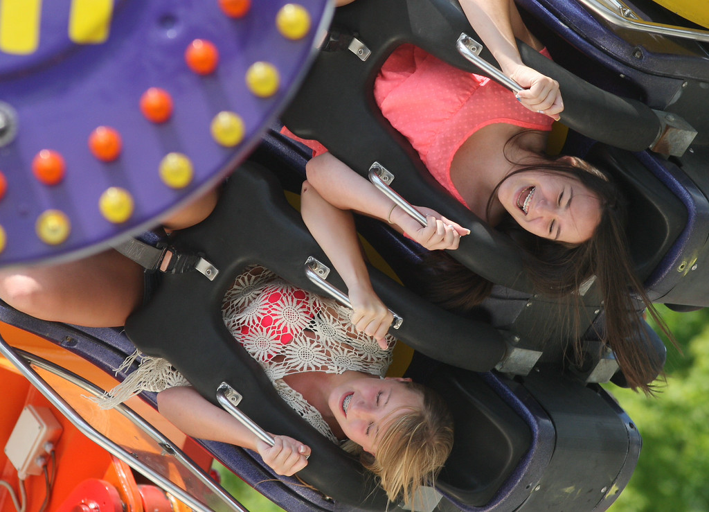 Description of . Kelsey Varano, 14, and Sarah Bordiuk , 14 both of Oriskany hold on as they ride the Twin Flip on the midway at the Boonville Oneida County Fair on Tuesday, July 22, 2014 in Boonville. the fair runs through Sunday, July 27, 2014. JOHN HAEGER-ONEIDA DAILY DISPATCH @ONEIDAPHOTO ON TWITTER