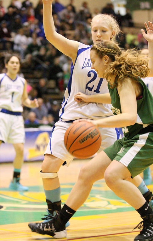 Description of . Hamilton's Olivia Dow (21) moves the ball inside as Ft EdwardsKali Knapp (21) defends in the first half of the NYSPHSAA Class D semifinal in Troy on Saturday, March 15, 2014.JOHN HAEGER-ONEIDA DAILY DISPATCH @ONEIDAPHOTO ON TWITTER