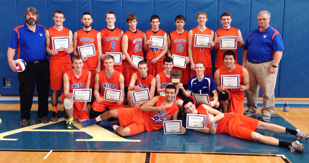 . Oneida players pose after defeating Ichabod Crane in the NYSPHSAA Class B Regionals in Oneida on Saturday, March 8, 2014. JOHN HAEGER-ONEIDA DAILY DISPATCH @ONEIDAPHOTO ON TWITTER